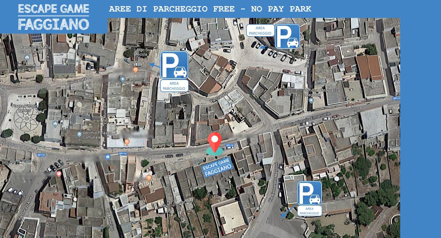Aree di parcheggio GRATUITE per giocare alla nostra Escape Room a meno di 100 mt.